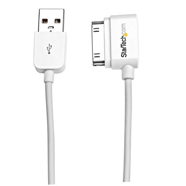 StarTech.com Korte linkshoekige Apple 30-pins Dockconnector-naar-USB-kabel 50 cm voor iPhone / iPod / iPad met getrapte connector